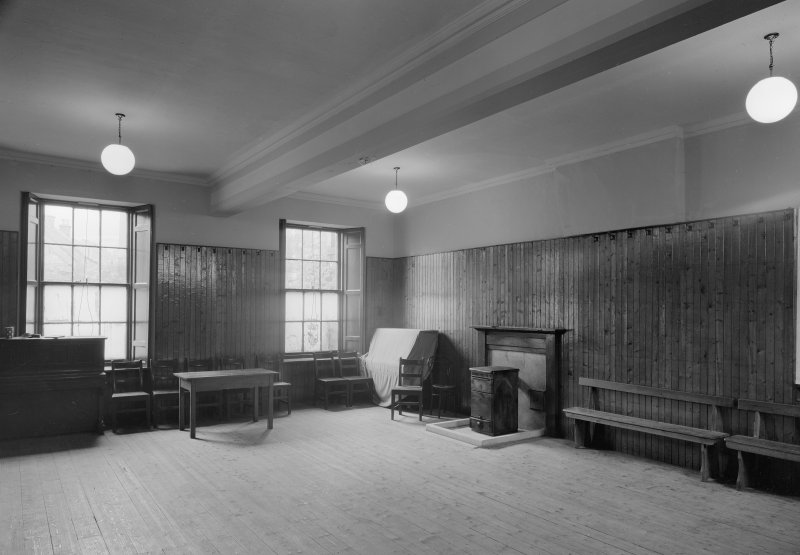 Interior view of Falkland Town Hall.