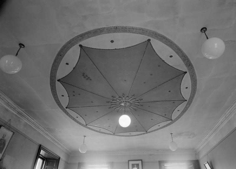 Interior view of Falkland Town Hall showing ceiling rose.
