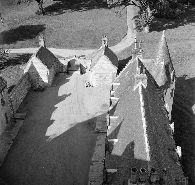 View of courtyard from SE tower, Castle Fraser.