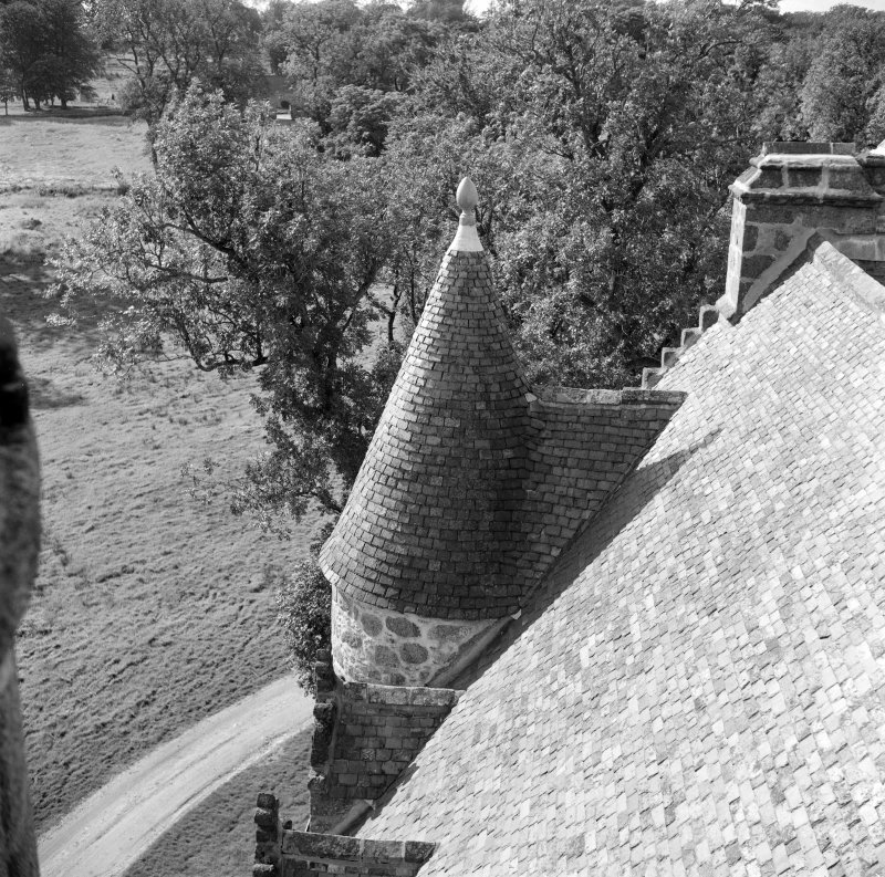 View of turret from SE tower, Castle Fraser.