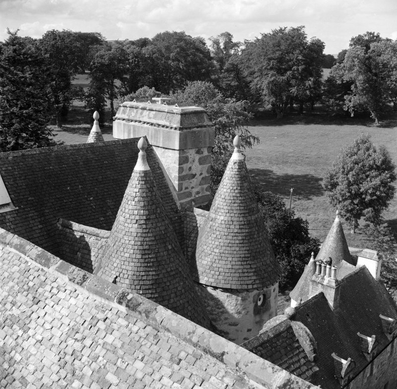 View of turrets from SE tower, Castle Fraser.