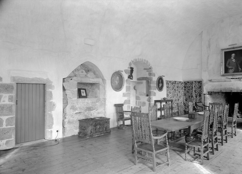 Interior view of Castle Fraser showing view of Great Hall.