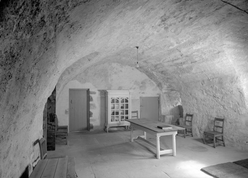 Interior view of Castle Fraser showing view of front hall.