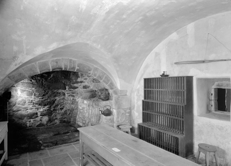 Interior view of Castle Fraser showing view of kitchen.