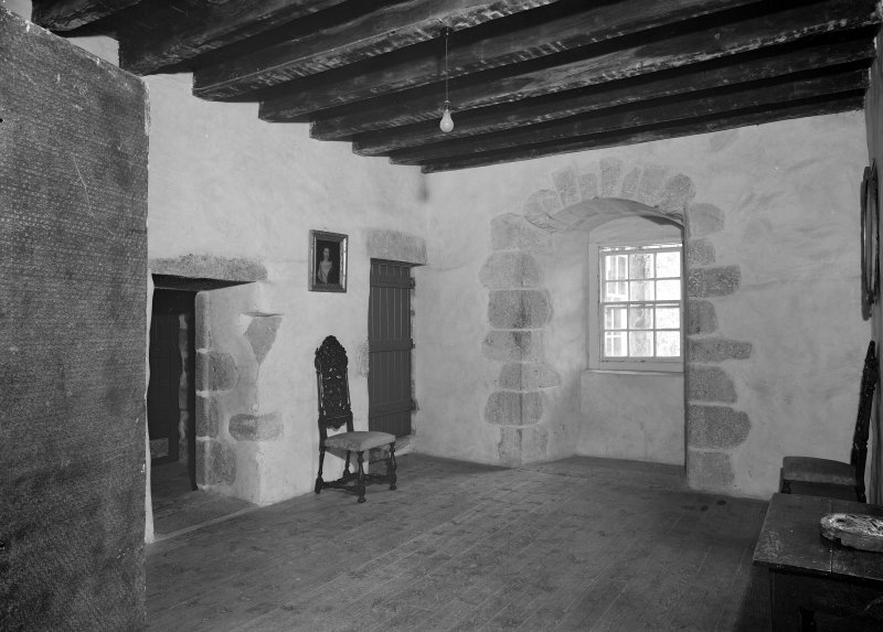 Interior view of Castle Fraser showing view of solar room.