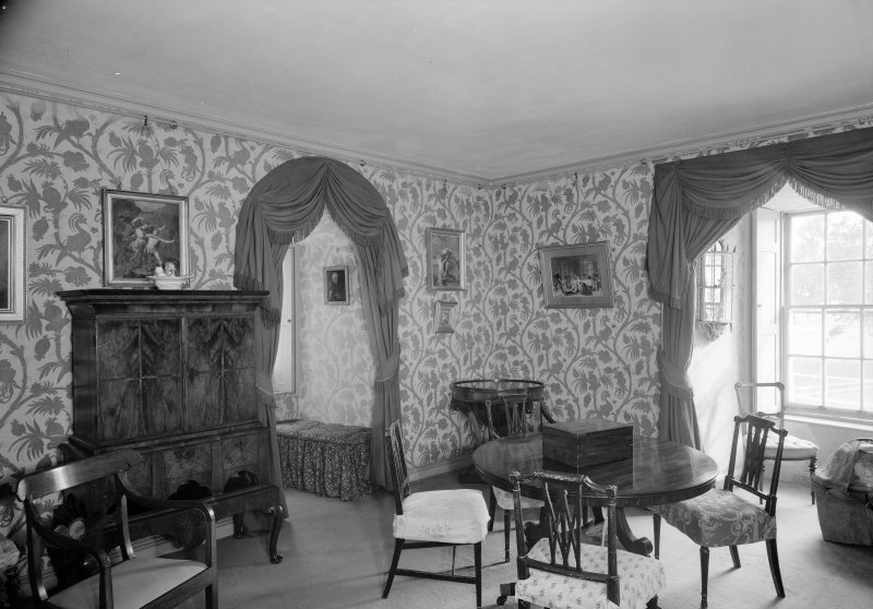 Interior view of Castle Fraser showing view of smoking room.