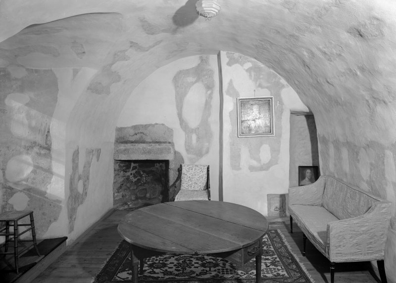 Interior view of Castle Fraser showing view of Priest's room.