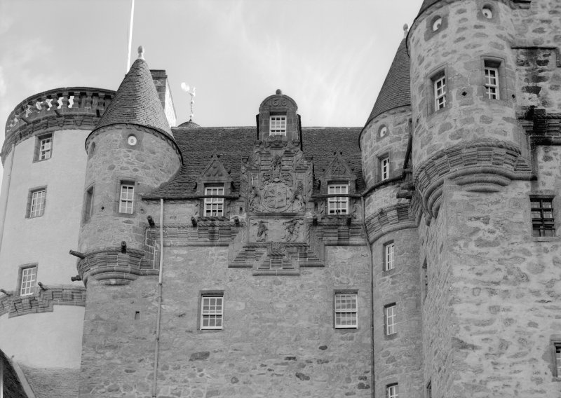 View of Castle Fraser from North showing detail of N elevation.