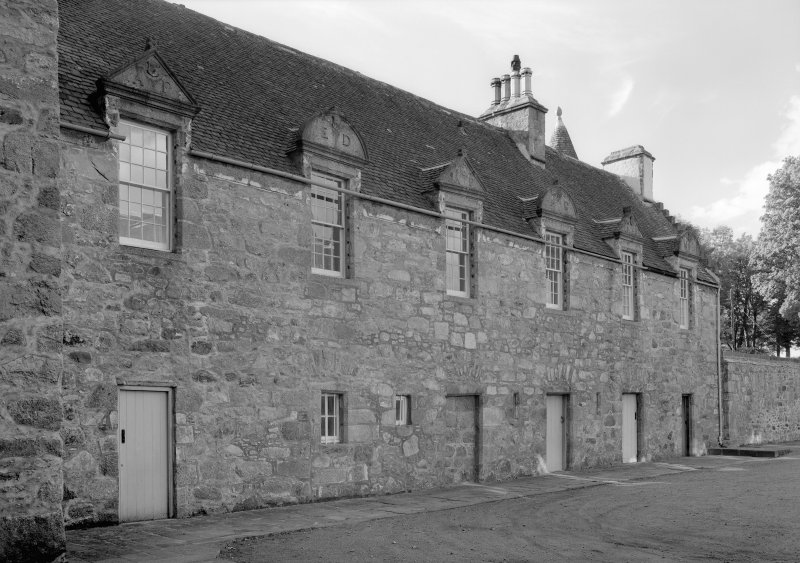 View of courtyard buildings, Castle Fraser.