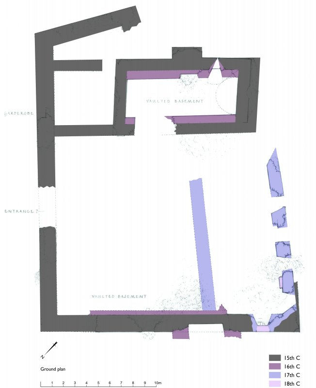 Crawford Castle: Phased ground floor plan (tiff version of GV006971)
