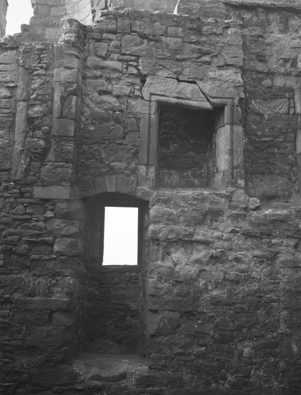Preston Tower and dovecot. Interior. View of fireplace.