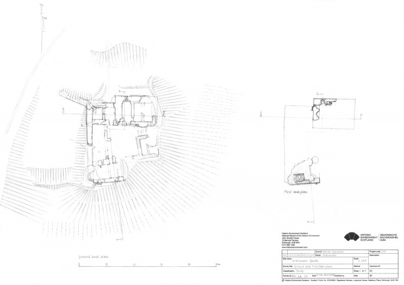 Ardrossan Castle: Ground plan and First floor plan