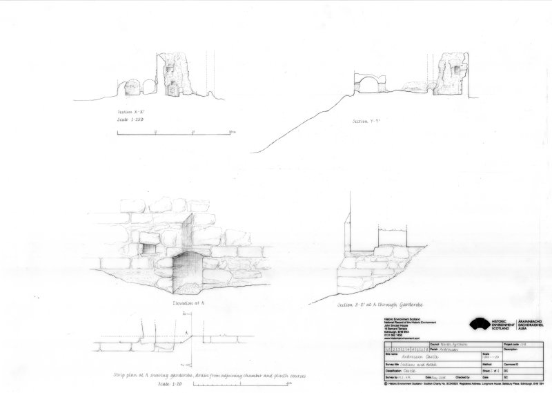 Ardrossan Castle: Sections X-X1 and Y-Y1 at 1:250 and strip plan  showing garderobe, drain and plinth courses at A on ground plan at 1:20