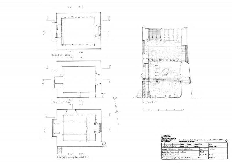 Thornton Beam Engine House; Undercroft, first and second level plans. Section A-A1