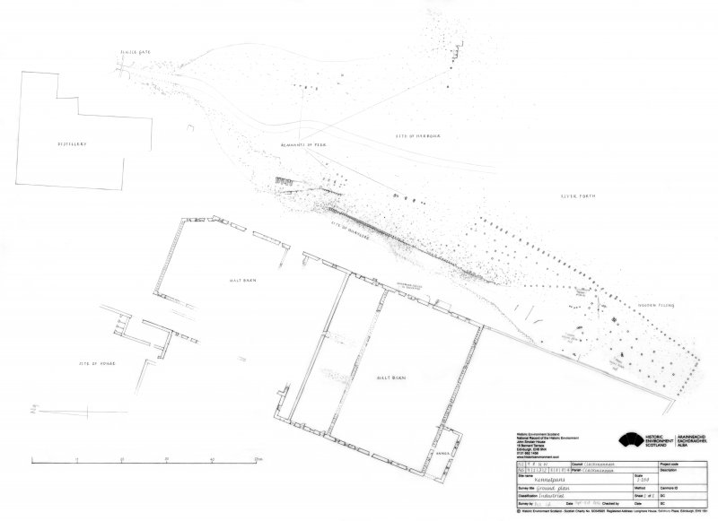 Kennetpans ground plan showing Distillery building, Malt barns, remnants of piers and harbour area