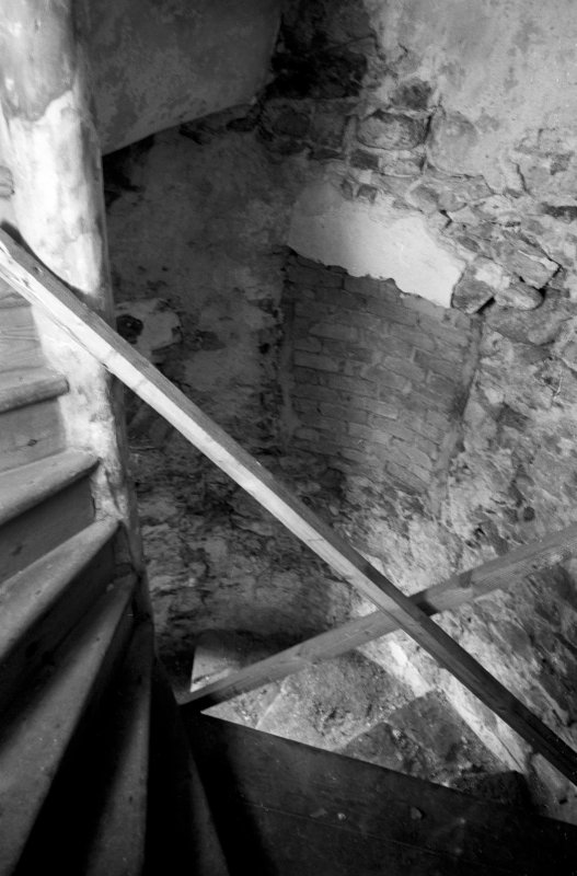 Interior view of Abergeldie Castle showing staircase at first floor level.
