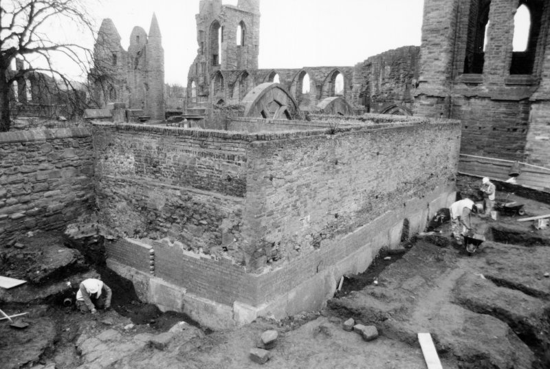 General view from NW of excavation around wall, Arbroath Abbey
