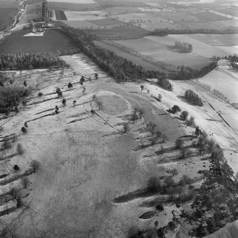 Oblique aerial view of the remains of Dron Hill fort.