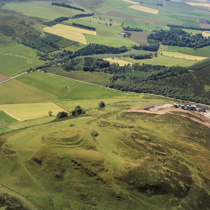 Oblique aerial view of the remains of the fort at Dunsinane Hill.
