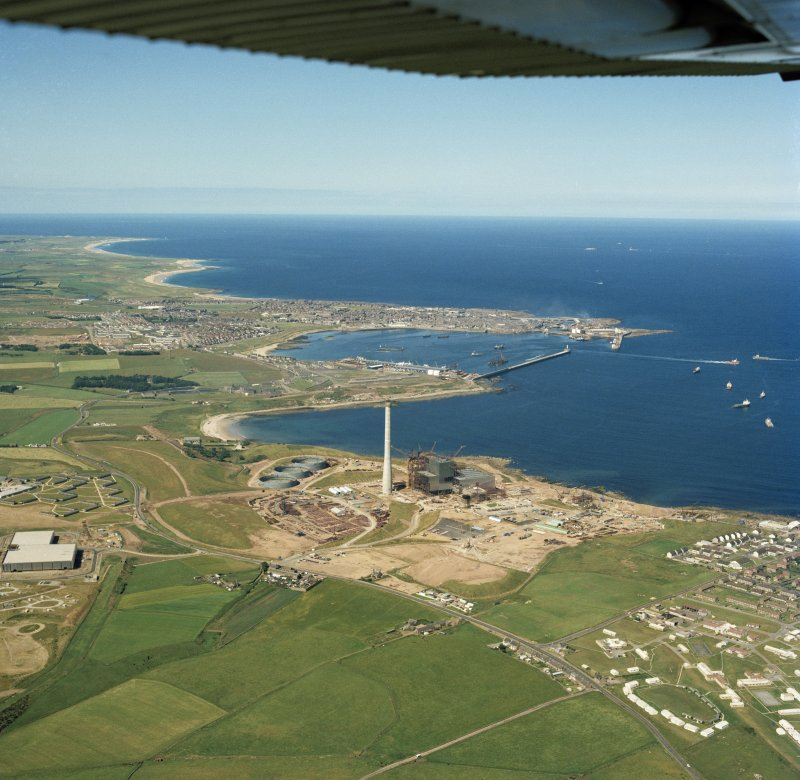 Oblique aerial view of Peterhead Power Station under construction.