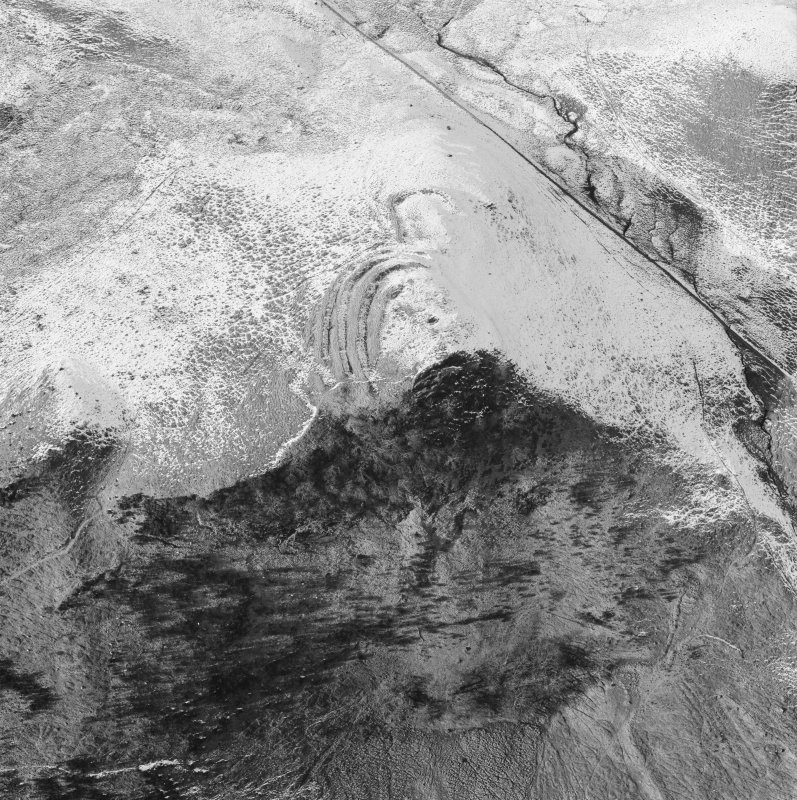 Oblique aerial view of the remains of Dunmore fort.