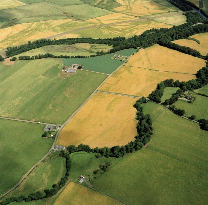 Oblique aerial view of the sites at Stracathro.