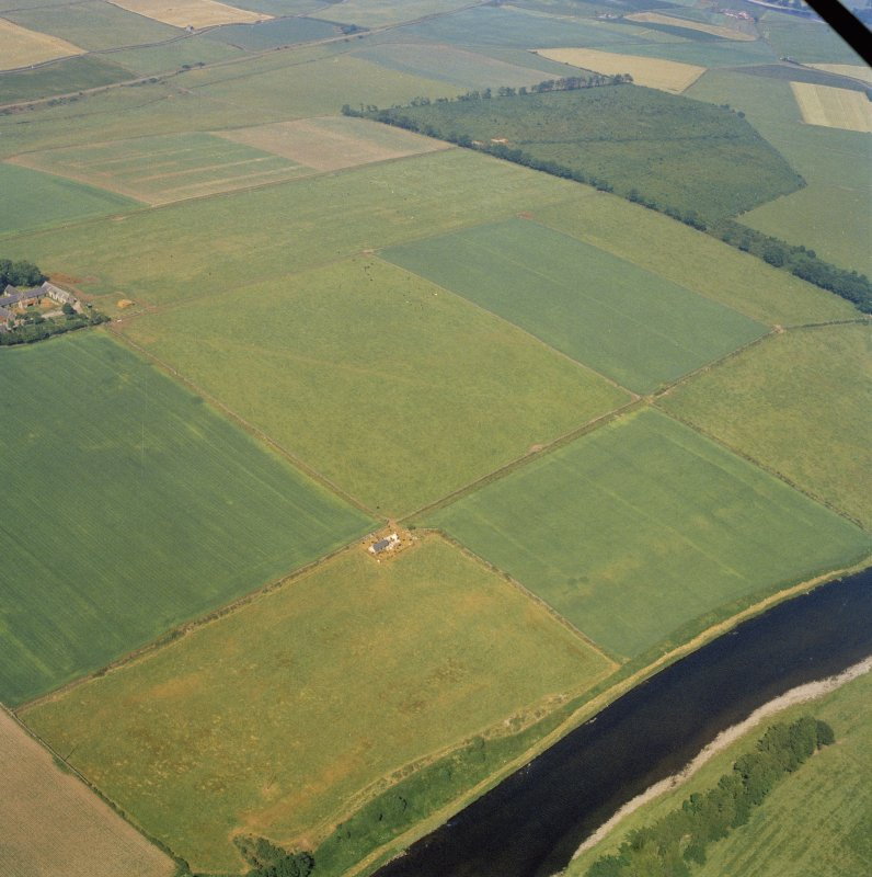 Oblique aerial view of Normandykes Roman temporary camp.