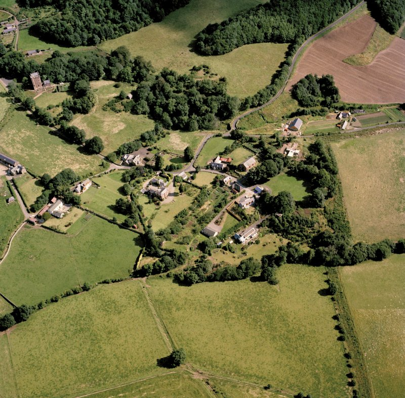 Oblique aerial view of Kinnaird Village.