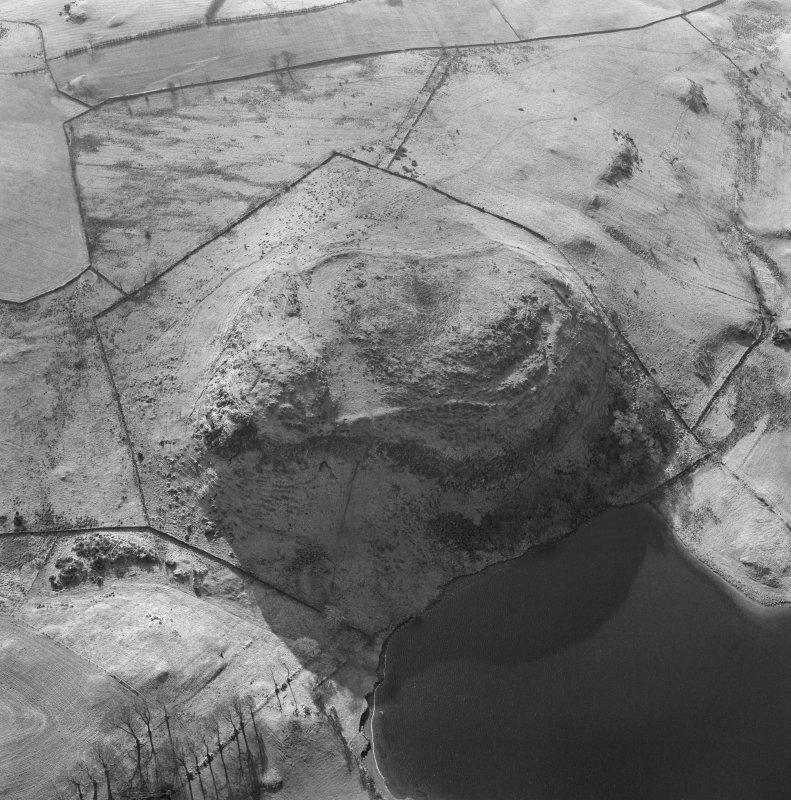 Oblique aerial view of the remains of Duncarnock fort.