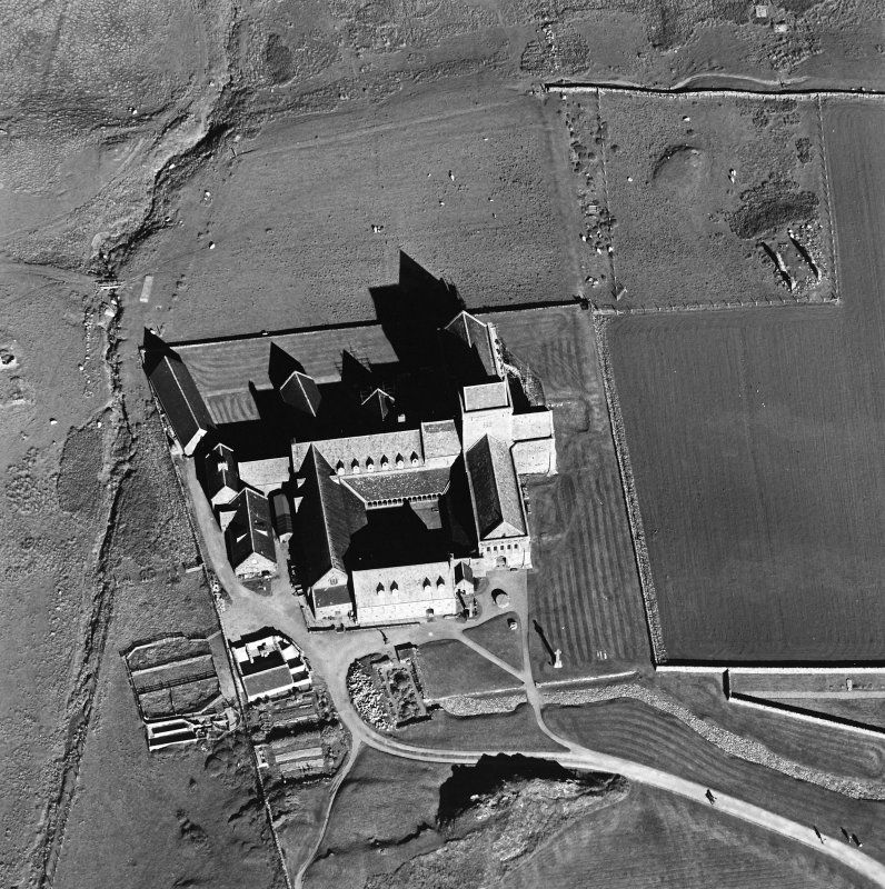 Oblique aerial view of Iona Abbey, taken from the west, centred on the abbey.