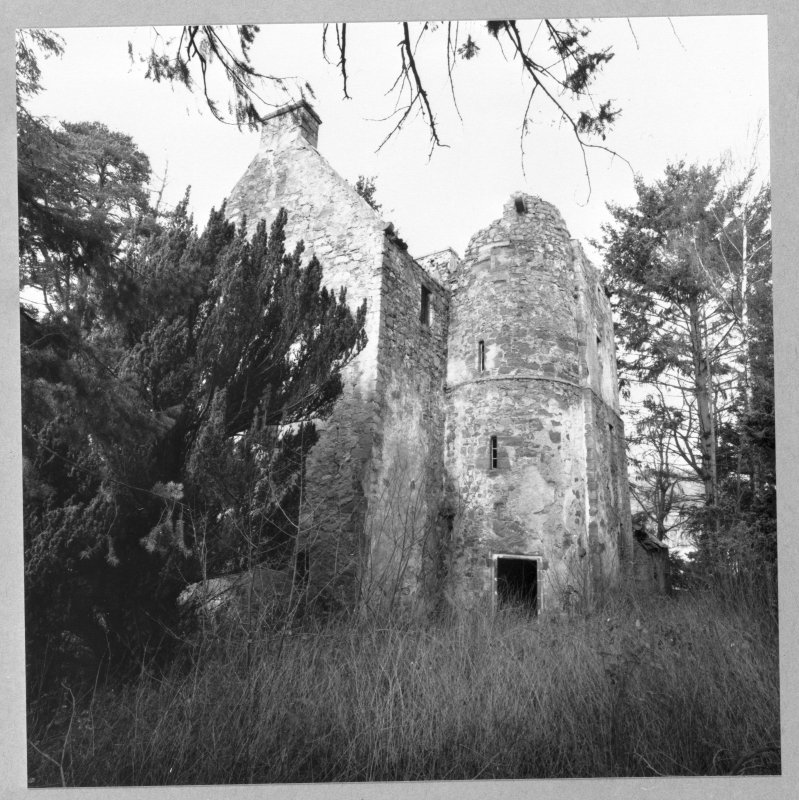 Clunie Castle. Exterior view of tower-house from SE, showing stair-tower.
