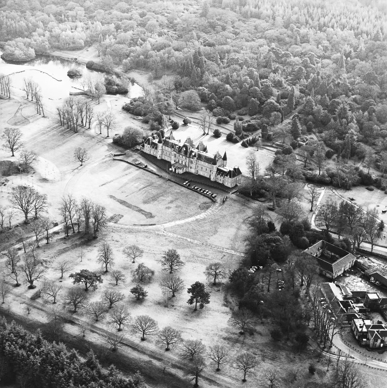 Aerial view of the Callendar Park section of the Antonine Wall (c. 8993 7967), including Callendar House, taken from the NNW.