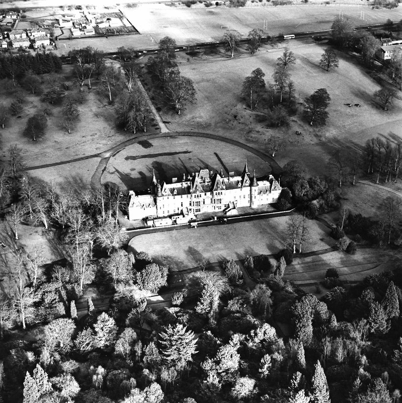Aerial view of the Callendar Park section of the Antonine Wall (c. 8993 7967), including Callendar House, taken from the S.
