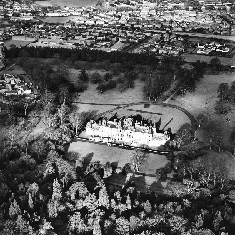 Aerial view of the Callendar Park section of the Antonine Wall (c. 8993 7967), including Callendar House, taken from the SSE.