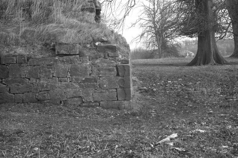 General view of the base of the tower-house, including the buckle quoins.