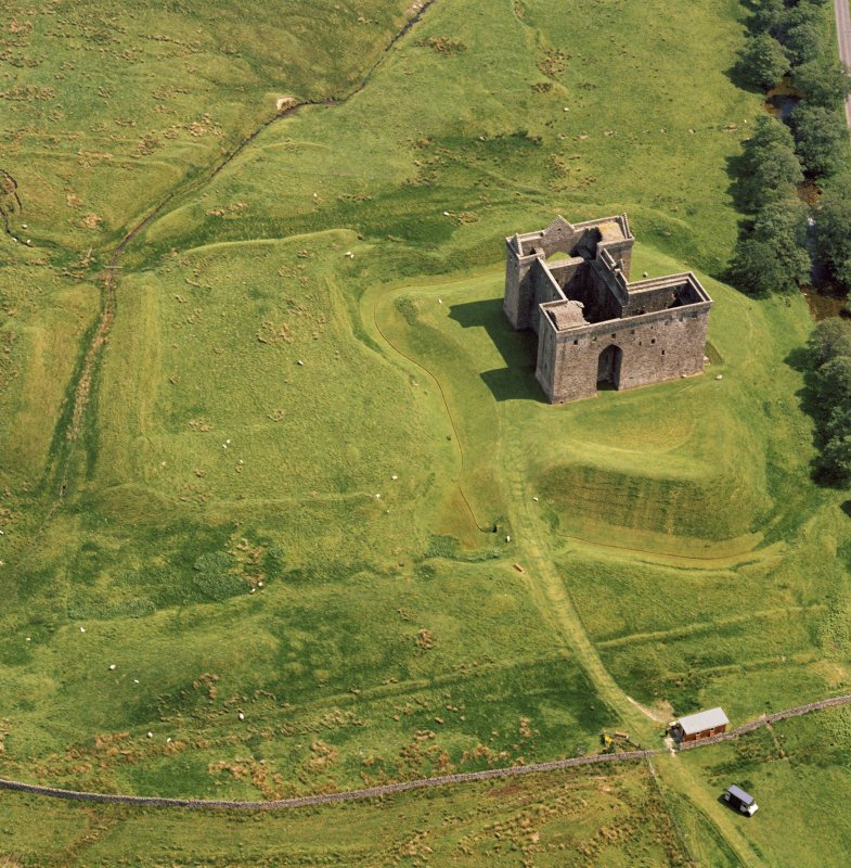 Oblique aerial view of Hermitage Castle.