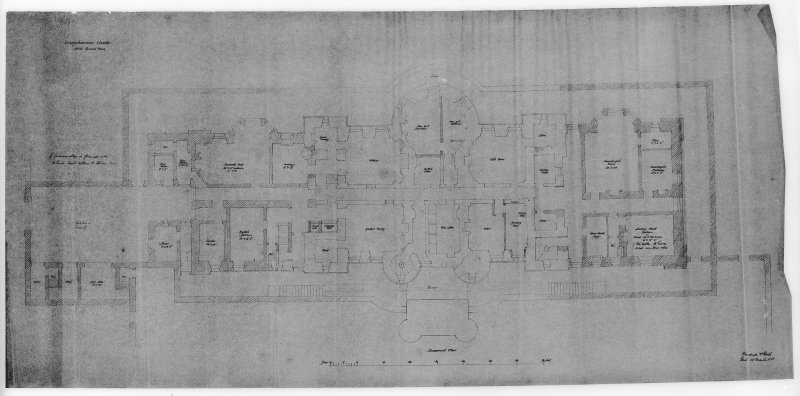Photographic copy of drawing showing plan of basement floor.