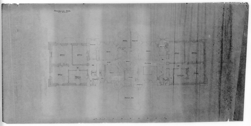 Photographic copy of drawing showing plan of bedroom floor.