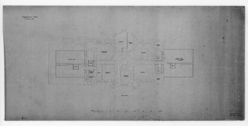 Photographic copy of drawing showing plan of second floor.