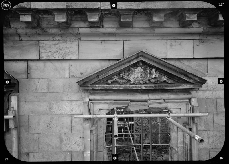View of pediment with central motif dated 1724, Mavisbank House.