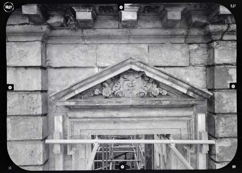 View of arch pediment with central motif, Mavisbank House.