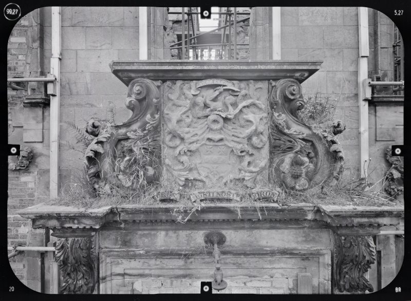View of armorial panel, Mavisbank House.