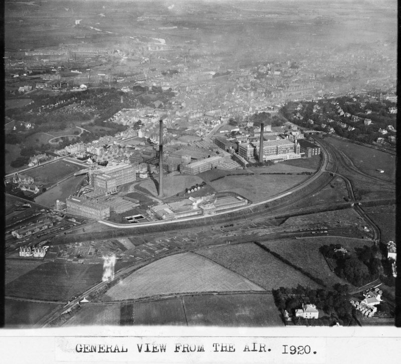 Ferguslie Mills. Copy of historic photograph showing aerial view.