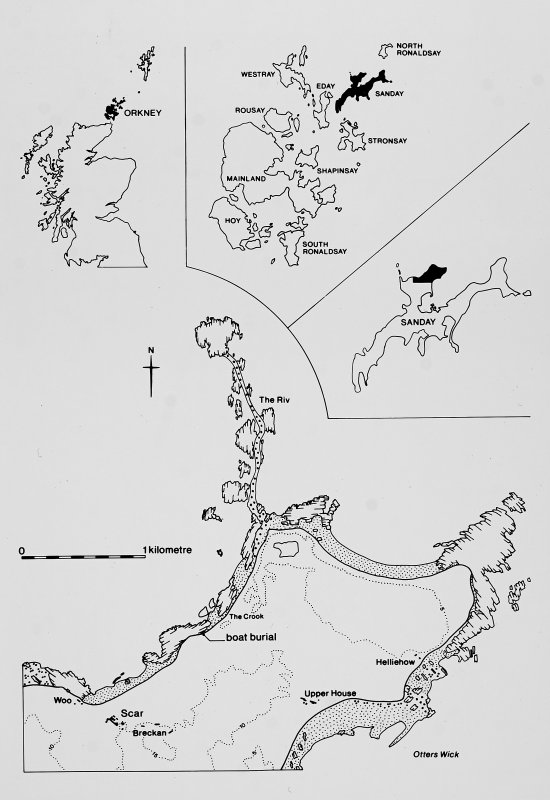 Publication illustrations 2 and 23. Site location maps and plans of the boat burial.