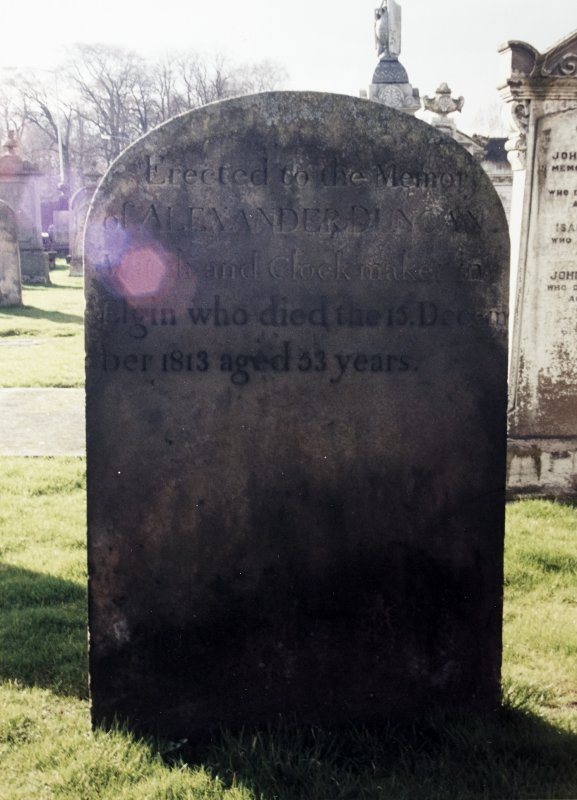 View of headstone of Alexander Duncan.
