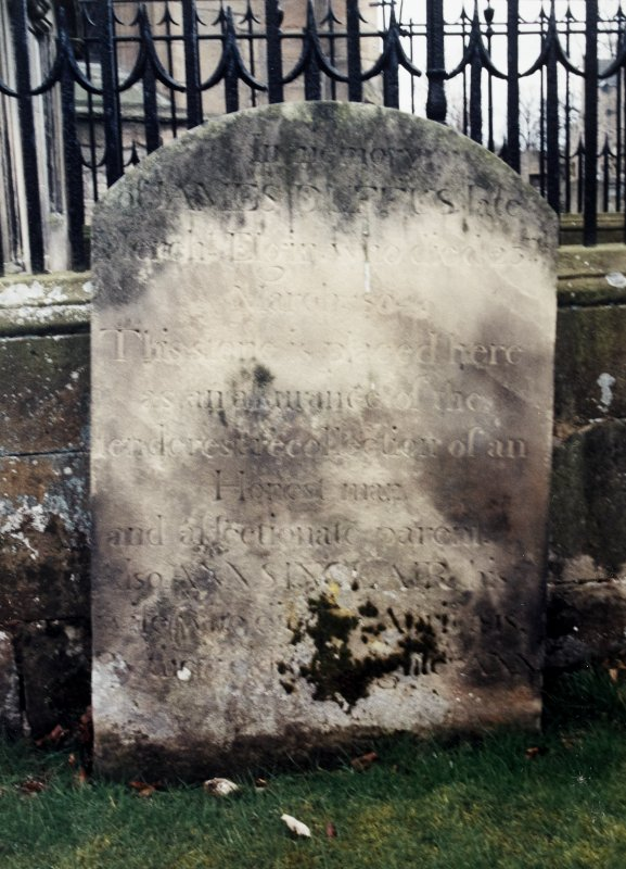 View of headstone of James Duffus and his family.