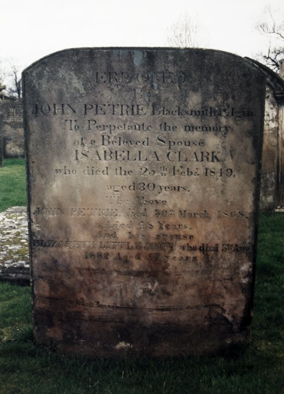 View of headstone of John Petrie and his wives Isabella Clark and Elizabeth Littlejohn.