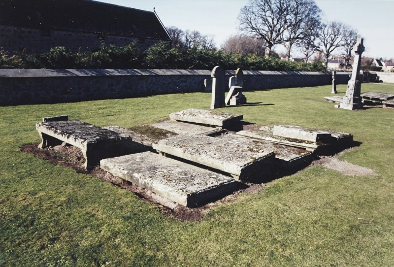 View of grave slabs.