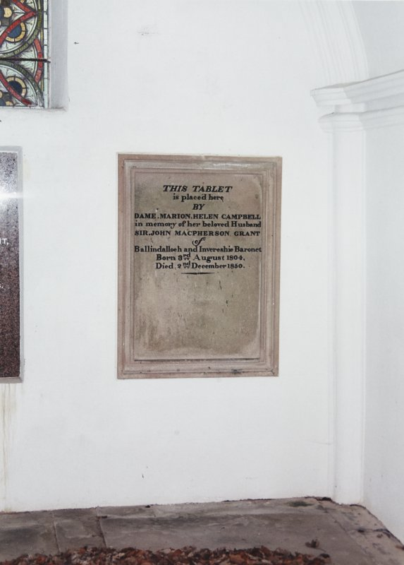 Interior. View of memorial plaque.