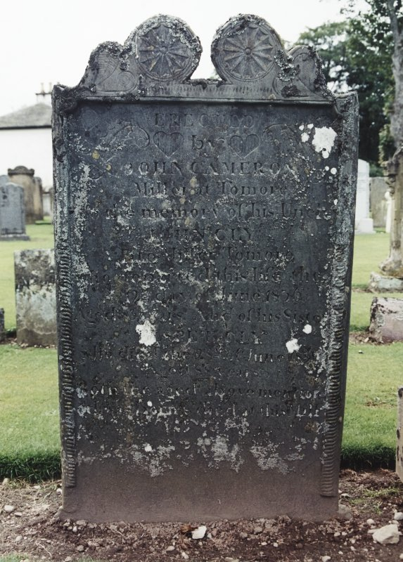View of headstone.